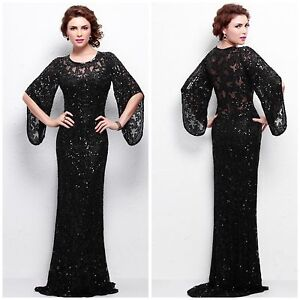 9666e0fc32 Image is loading NWT-PRIMAVERA-COUTURE-9713-LONG-SLEEVE-BLACK-SQUINED-