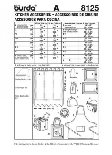 Burda Damas /& Homeware patrón de costura 8125 Delantal /& Cocina Accesorios..
