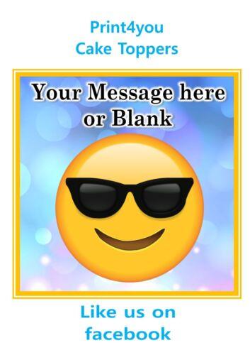 ND3 Emoji sunglasses personalised Square cake topper icing sheet