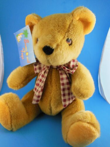 "Vintage Golden Teddy Bear Plush 10"" Sitting Suncoast Toys MWT"