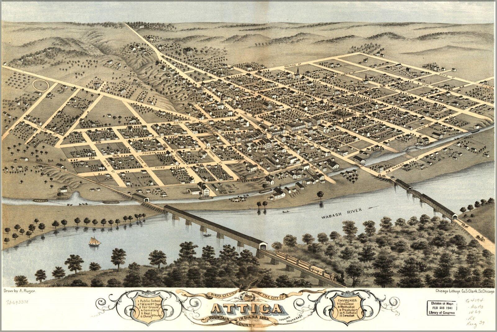Poster, Molte Misure; Birdseye Vista Mappa Del Attica, di Indiana