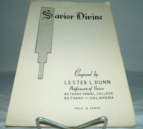 Bethany Peniel College Savior Divine Vintage Sheet Music Dunn Lester L