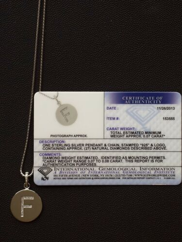 "Brand New Diamond /""F/"" Initial Pendant .07 CT. T.W. Sterling Silver"