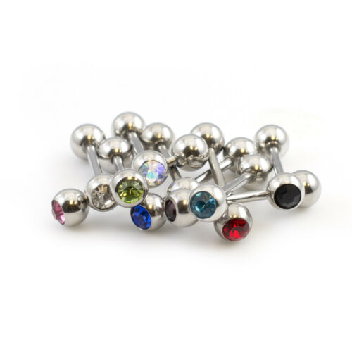 Tongue Barbell Package of 20 Barbells with CZ Gems 14g