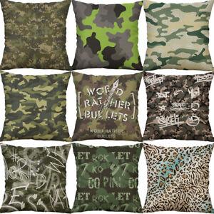 18-034-Camouflage-pattern-Cotton-Linen-Waist-Home-Decor-pillow-case-Cushion-Cover