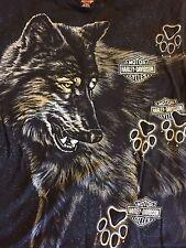 Mens XL Harley Davidson Motorcycle Black T Tee Shirt Wolf Paw Prints Front Back