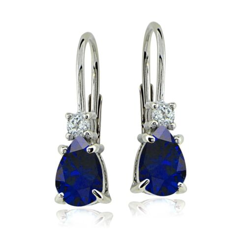 Sterling Silver Created Blue Sapphire /& White Topaz Teardrop Leverback Earrings