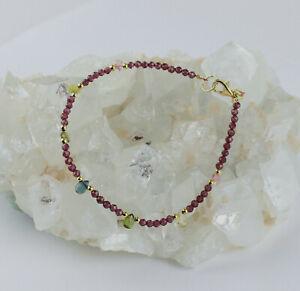 Rodolith Granat  und Turmalin Armband edelsteinarmband facettierte Bunt ca.19 cm