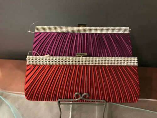 Wine Women/'s Evening Handbag Satin Clutch Purse - Purple #33810
