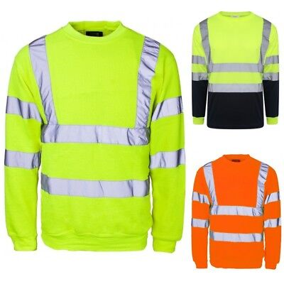 Schlussverkauf Hi Viz Crew Safety Fleece Jumper Sweatshirt Visibility Work Security Top Big Siz