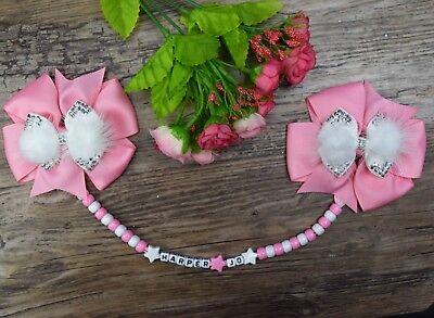 Candido Personalizzato Carrozzina Charm Fiocco Rosa Bianco E Rosa Bianco Perline Doppio Clip- Alta Sicurezza