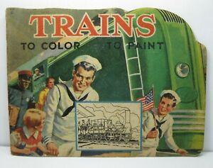 1943-Trains-To-Color-To-Paint-Coloring-Book-by-Samual-Lowe-Unused-RARE