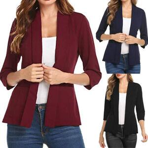 Women-Mini-Suit-Casual-3-4-Sleeve-Open-Front-Work-Office-Blazer-Jacket-Cardigan