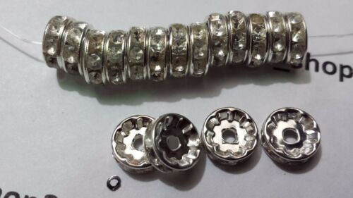 SILVER MIX 6,8,10mm 50-100 GRADE A RHINESTONE RONDELLE SPACER BEADS GOLD