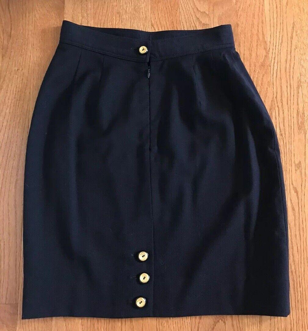 Gemma Kahng Navy Wool Zipper Close Pencil Skirt Größe 8 Gold buttons vintage 90's