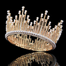 """3.5"""" Full Crown Tiaras Queen Crystal Pearl Diadem Wedding Pageant Prom"""