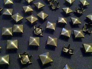 CraftbuddyUS 100*5mm x BRASS Pyramid, Punk, Rock, Leather Bag Shoe Studs CRAFT