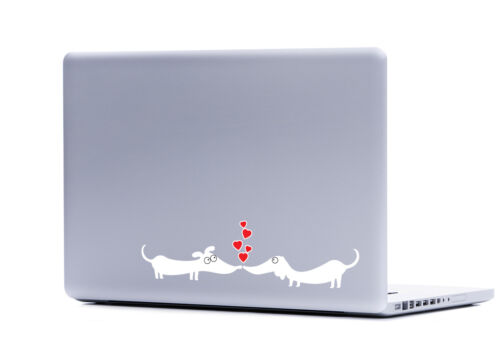 White Dachshund Dogs In Love sticker decal laptop automotive netbook window