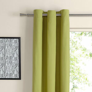 Details about BLACKOUT RING TOP CURTAINS in APPLE GREEN ,BEDROOM LIVING  ROOM CURTAINS 66\