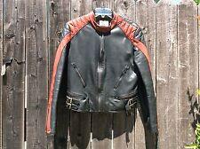 RARE! Mens 40 THEDI MOTORS Half Belt Tutone Leather Cafe Racer Motorcycle Jacket