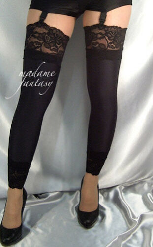 BLACK OPAQUE SPANDEX FOOTLESS STOCKINGS LACE TOP CUFFS LEG WARMERS