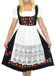 DIRNDL TRACHTEN HAUS Black German Dress Oktoberfest Waitress Long EMBROIDERY 3pc