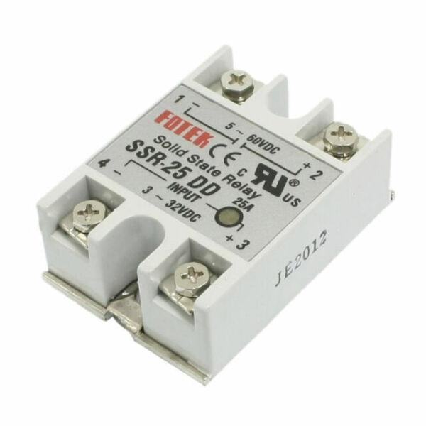 25A DC To DC SSR-25 DD Single-Phase Solid State Relay Module 5V-80V 3-32V White