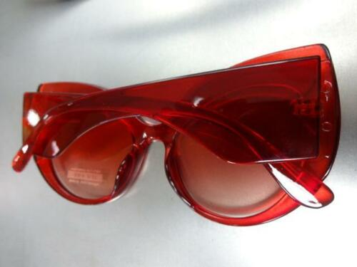 Oversize Exaggerated Vintage Retro Cat Eye Style SUNGLASSES Thick Red Frame Lens