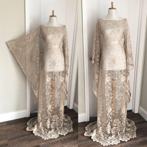 Vintage Sheer Beige Lace Maxi Dress CUT OUT Boho H