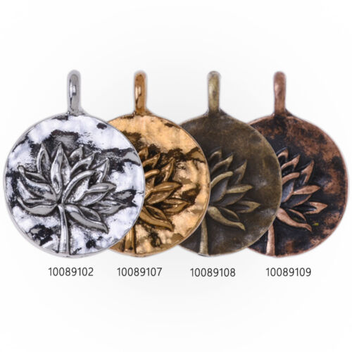 20 Round Metal Flower Charm Lotus pendant  Vintage Charms  Yoga Charms 16mm