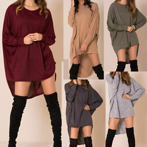 Womens-Plus-Plain-Oversized-Knit-Long-Sleeve-Batwing-Dip-Hem-Baggy-Ladies-Top