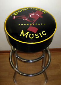 Wurlitzer-Jukebox-Phonograph-Music-Bar-Stool-Stools