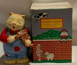 Vintage Russ Berrie Ceramic Bank Cat Nursery Rhymes Collection With Box/Stopper