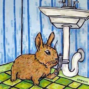 Bunny Rabbit trio music room decor animal art tile coaster gift
