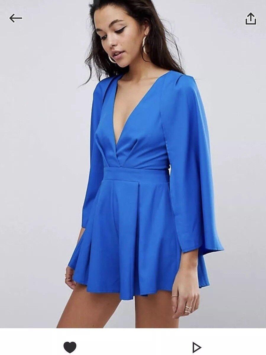 Parallel Lines ASOS Cobalt bluee Cape Long Sleeve Playsuit Size 8-10