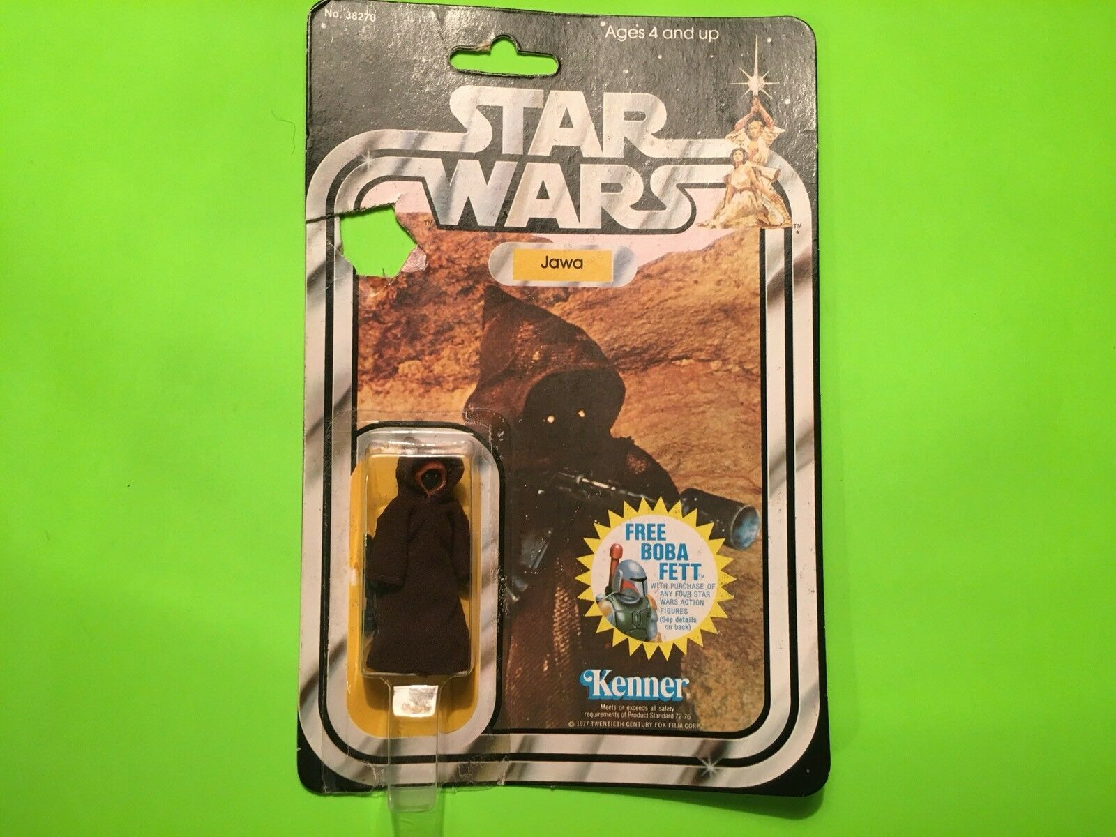 STAR WARS  NICE Vintage JAWA HK,Bubble Resurfaced To Card JEDI. RARE,Moc