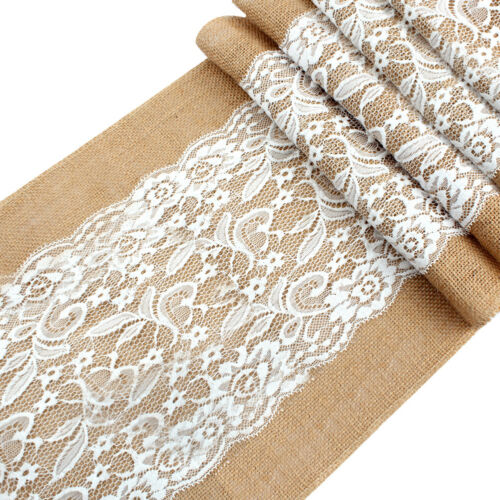 Hessian Burlap Lace Table Runner Tablecloth Rustic Wedding Party Banquet Decor