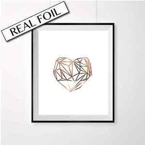 Retro-Heart-print-Geometric-Heart-Copper-Foil-Poster-love-heart-A4-wall-art