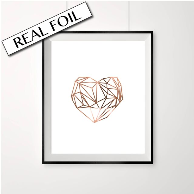 LARGE Retro Heart print, Geometric Heart, Copper Foil Poster, love heart A3