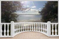 Huge 3D Balcony Exotic Ocean Lake Wall Sticker Decal Wallpaper 1139