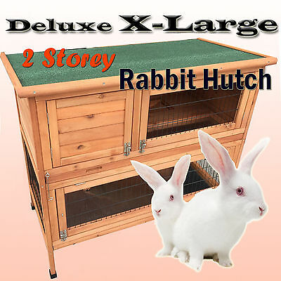 X Large 116cm 2 Double Storey Timber Wooden Rabbit Guinea Pig Hutch Cage 2 Trays