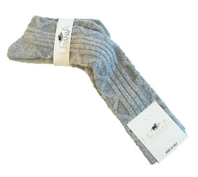 Urania Italy Ladies OVER Knee Socks Angora Blend Cord Rib Grey NEW