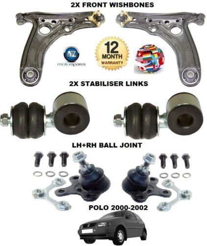 Pour VW Polo 2000-2002 2x Wishbone bras liaison 2x barres 2x Rotule Suspension Kit