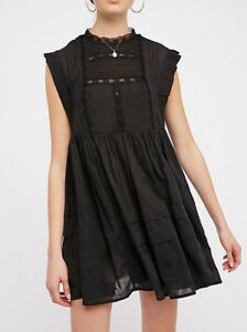e621fff9741a9 176975 New Free People Nobody Like You Embroidered Mini Black Cotton ...