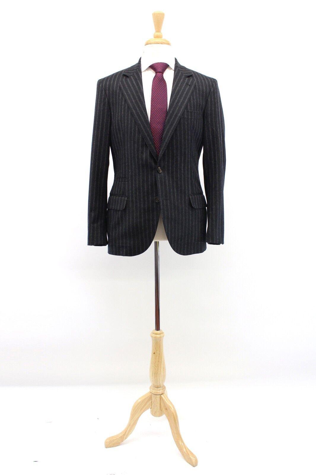 NWT4395 Brunello Cucinelli 100% Wool Knit Striped Logo Sport Coat 48/38 US A181