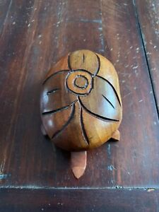 Vintage Handcarved Wooden Turtle/ Tortoise with Shell Lid