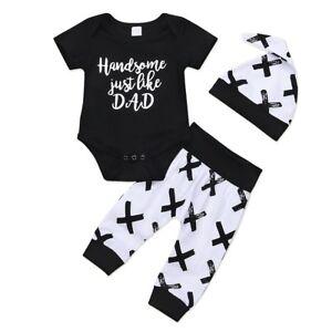 e409b80b878 3pcs Newborn Infant Baby Boy Clothes Romper Bodysuit Tops+Pants+Hat ...