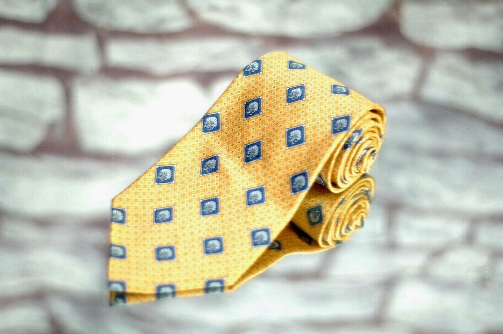 Richel Königsblau Herren Krawatte Safran Gold und Blau Geometrisch Seide Luxus