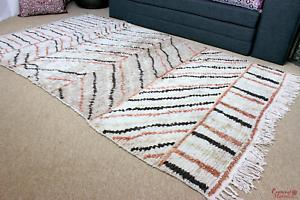 Moroccan VINTAGE AZILAL RUG Pure Wool Carpet Morocco 230x142cm / 8ft.x4.6ft  AZ2