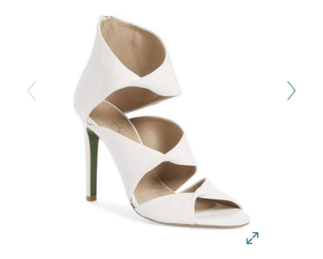 Donald J pliner  bianca IKAYA - SIGNATURA Nappa Leather Heeled Sandal SZ 7.5  395  negozi al dettaglio